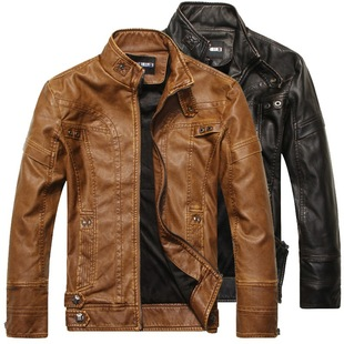 Foreign trade leather jackets men's leather jackets European and American fashion self-cultivation men's motorcycle PU leather jackets plus velvet leather jackets