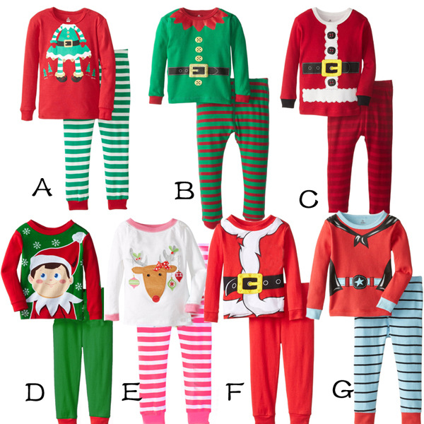 2019 Kids Christmas Suits 8Styles Boys Girls Christmas Santa Pajamas ... 18d0ae06e