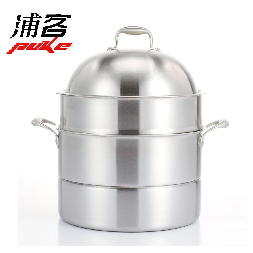 浦客工厂直销304不锈钢蒸汤锅加厚多层底蒸锅多功能汤锅批发