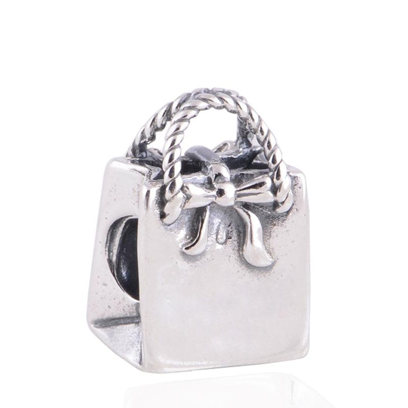 925藏银 礼物袋子银珠 手提袋珠子 DIY手链配件潘配多件拉手链
