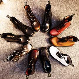 靴子女秋冬机车靴平底低跟英伦马丁靴女真皮中筒女情侣真皮短靴女