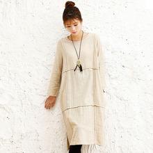 秋季新款小暖文艺大码竹节麻原创棉麻长袖外贸女装长款连衣裙