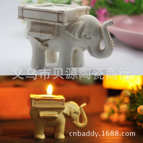 结婚婚庆回礼生日礼物,节庆派对用品创意工艺品树脂小象大象烛台
