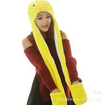 长款黄色小鸭子帽子大黄鸭动物帽子3连体手套帽子舞台道具