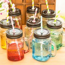 创意渐变彩色玻璃瓶夏日果汁饮料透明带盖有吸管水杯子 梅森杯