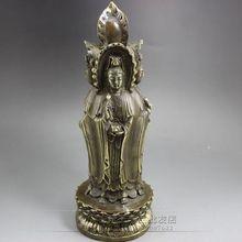 古玩雜項收藏復古工藝品批發黃銅手工雕刻四面觀音像擺件