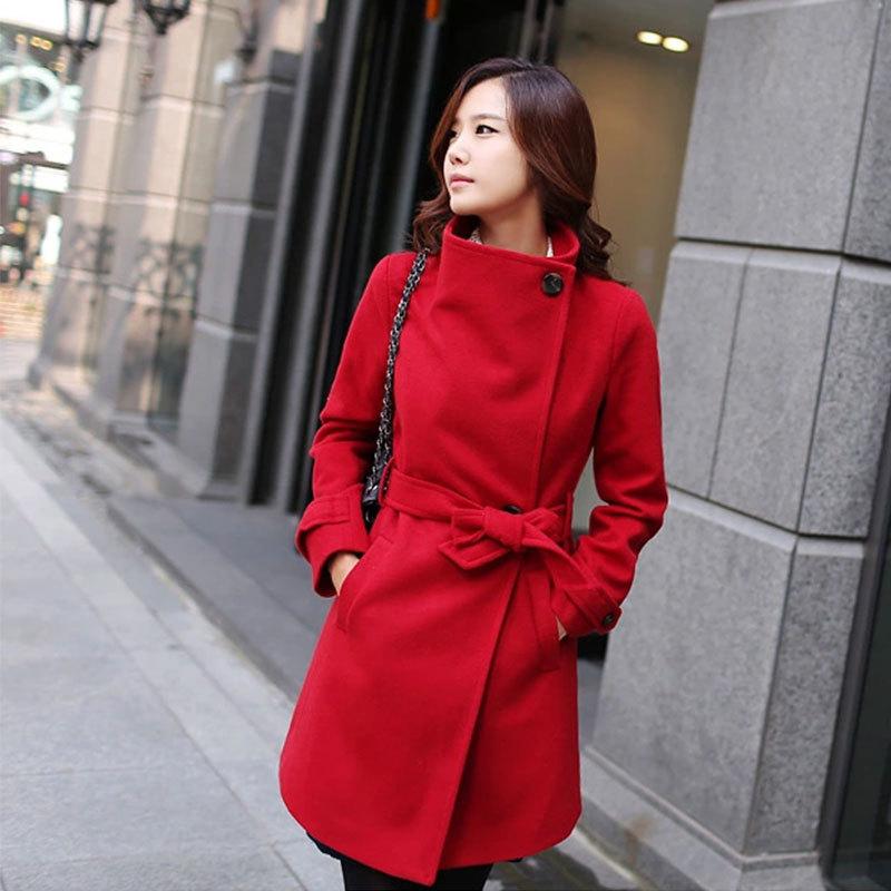 外贸专卖店品牌直销羊毛呢外套大码女装韩版系腰带大衣修身中长款