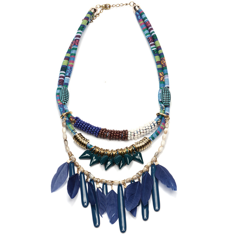 Occident and the United States national wind retro Acrylic feathersnecklace (blue)NHYT0380-blue