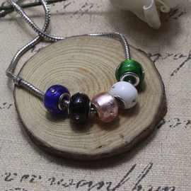 DIY古法潘家多拉风格 银箔镶钻大孔琉璃珠 水晶玻璃珠  手链散珠