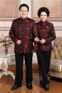 Men's Tang suit long-sleeved tops Spring and Autumn Winter Chinese jacket middle-aged and elderly couples ladies Tang suits birthday banquet