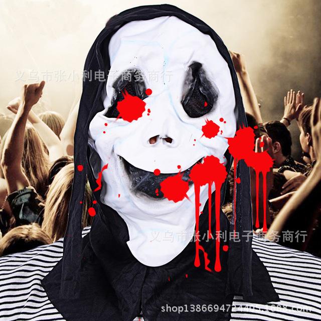 白色恐怖面具黑布鬼脸万圣节恐怖面具 环保乳胶派对 酒吧 魔鬼