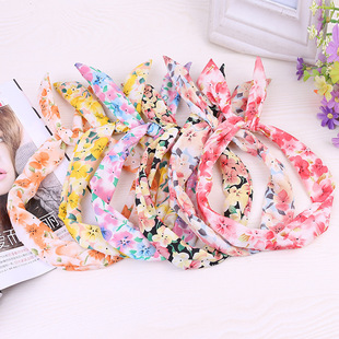 Korean version of accessories, pastoral style, fresh and small floral headband, fashion polka dot bunny ears headband, hair accessories head