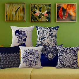 Chinese style blue and white porcelain flower pattern sofa cushion cotton and linen pillowcase backrest pillow 100g C1030