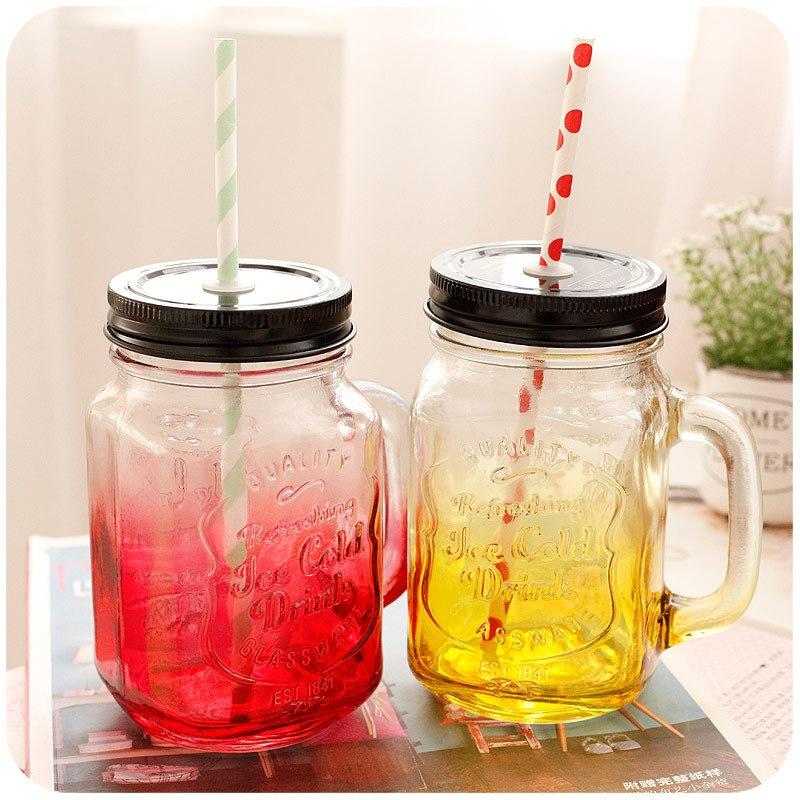 FL01创意渐变色梅森瓶 透明玻璃杯 梅森杯子批发  带吸管水杯批发