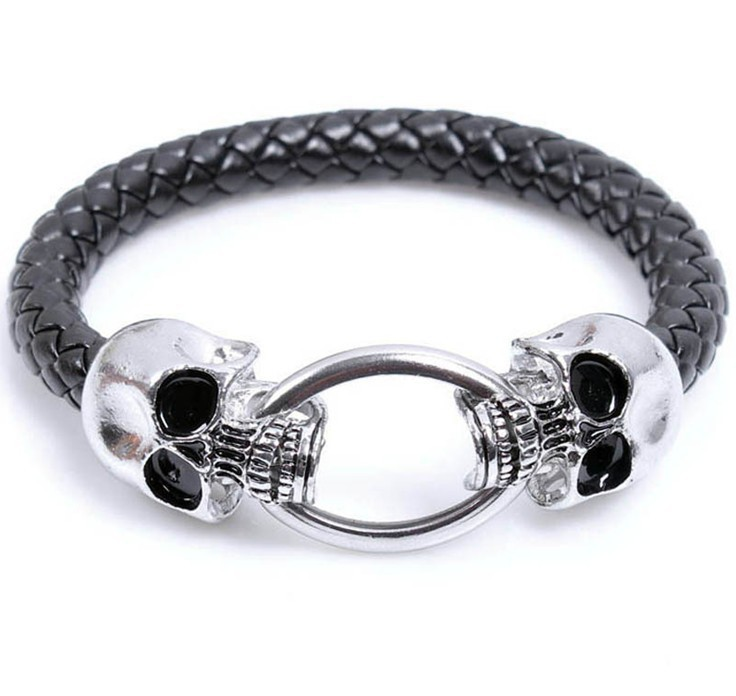 punk style skull braided leather bracelet exaggerated men's bracelet small jewelry wholesale nihaojewelry NHKN228180