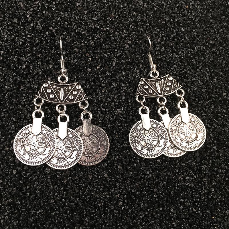 Earrings, tassels, punk coins NHPV175157