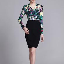 燕子坞春装新款套装OL气质V领印花长袖修身连衣裙C49大码女装