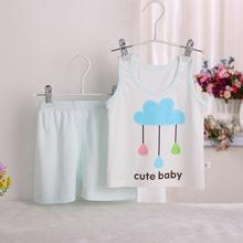 寶寶套裝兒童背心嬰兒服飾吊帶t恤童套裝小童背心短褲兩件套批發
