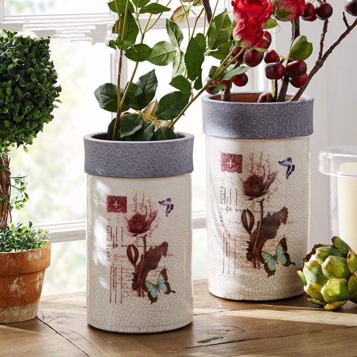 厂家直销批发地中海风格陶瓷花瓶复古做旧花盆直筒花器软装摆件