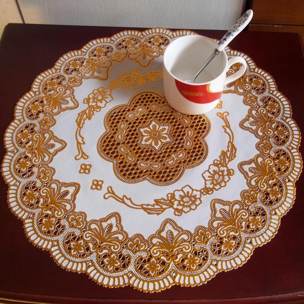 38CM圆杯垫烫金pvc餐垫欧式防水隔热垫防烫杯垫盘垫 桌垫一件代发