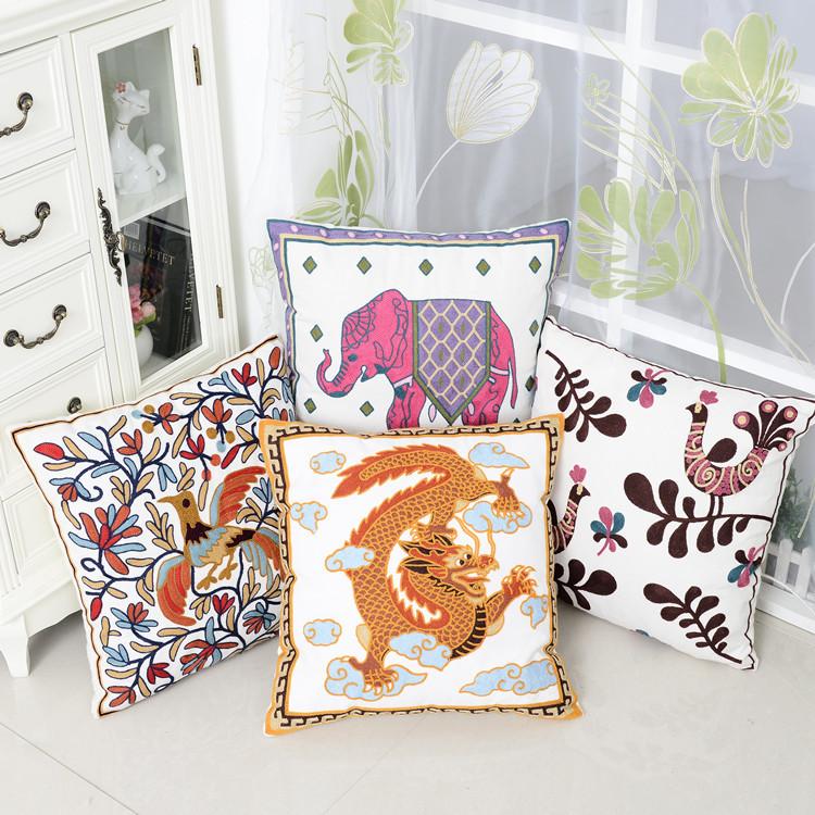 全棉高档毛线刺绣抱枕套汽车沙发靠垫套床上靠枕动物类
