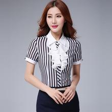 韩版夏装新款女装雪纺衫短袖 荷叶边雪纺衬衫修身显瘦职业衬衫女