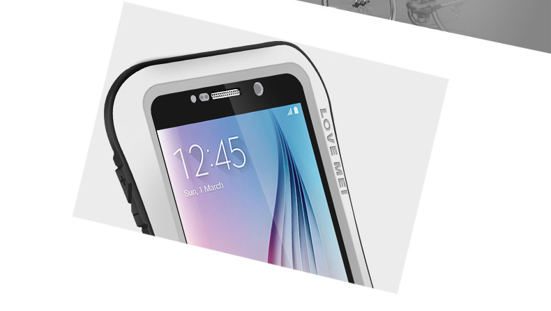 LOVE MEI Powerful Small Waist Water Resistant Shockproof Dust/Dirt/Snow Proof Aluminum Metal Outdoor Heavy Duty Case Cover for Samsung Galaxy S6