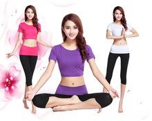 2015春夏季新款時尚女瑜伽服套裝短袖背后搭接瑜珈健身運動舞蹈服
