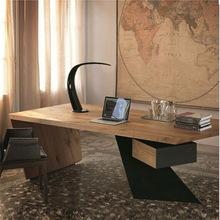 美式实木铁艺创意办公桌个性员工电脑桌 特色家用时尚书桌创意款