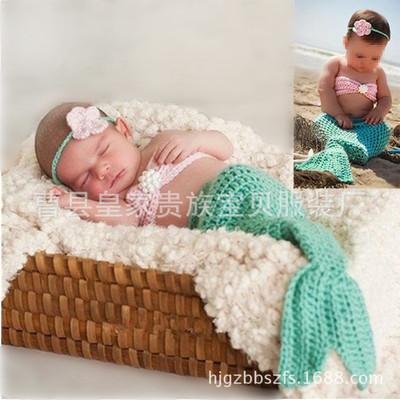 新生婴幼儿童百天宝宝摄影服装手工编织珍珠美人鱼套装批发直销