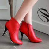 Boots cổ ngắn nữ dáng cao gót, trơn màu khóa kéo cá tính, hiện đại
