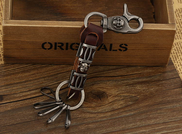 Leather Fashion Geometric Keychain  (brown) NHPK1624-brown
