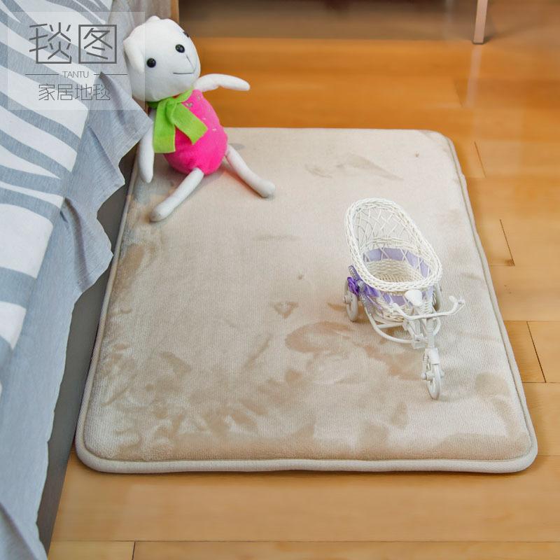 纯色法兰绒加厚快加慢回弹卧室客厅床边地毯地垫防滑爬爬垫简约