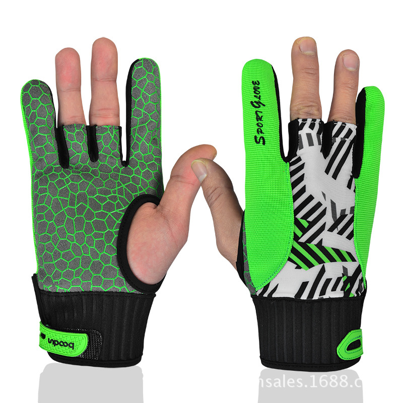 2 Color BOODUN / Burton Men And Women Bowling Thumb Silicone Anti-skid Gloves Two Colors Optional (Orange,Green/Size:L)