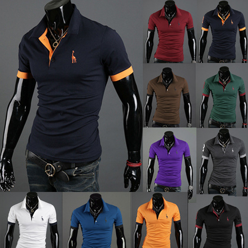 Sumitong men's large multi color deer embroidery slim polo men's short sleeve T-shirt factory direct supply