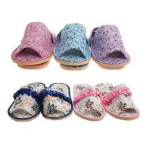 韩国正品 花边漏趾布艺拖鞋 漏趾碎花粉蓝紫棉拖鞋