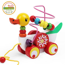 Wooden children, animal, duckling trailer, bead string, wire drawing, educational enlightenment toy