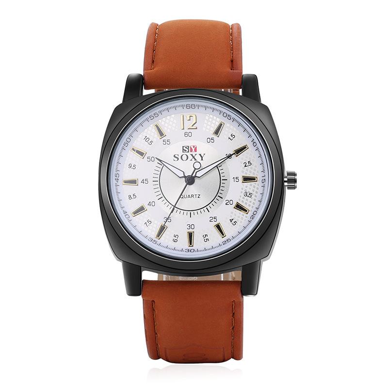 速卖通wish外贸手表热卖男士皮带手表男款休闲运动腕表石英表男款