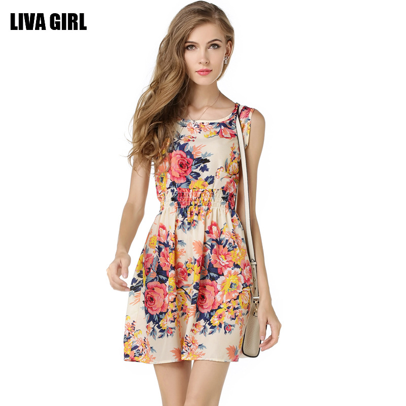 Printed Dress Sleeveless Floral Chiffon Dress
