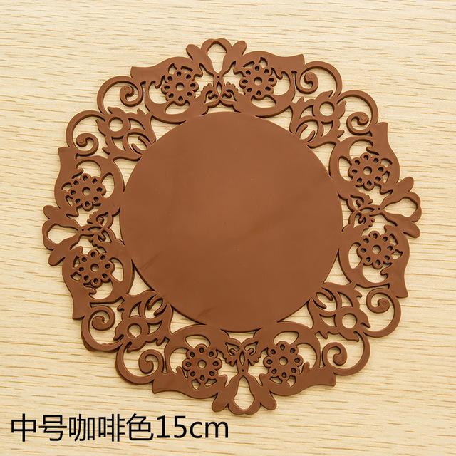 2061 tròn đế lót ly lót silica gel pad cách ren hoa món cốc trượt coaster placemat Silicone giả