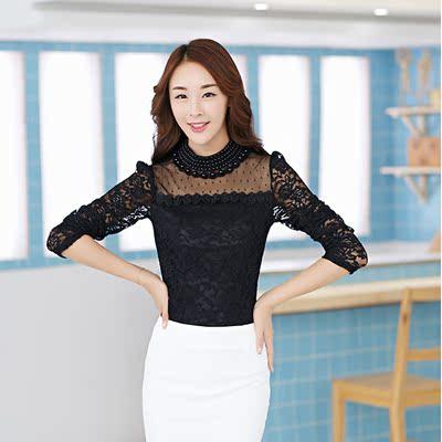 春韩版女装镂空蕾丝拼接高领钉珠时尚修身长袖上衣蕾丝衫打底衫