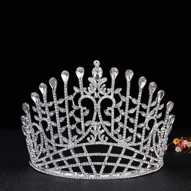 精品欧美新娘饰品水晶宝石皇冠 婚礼时尚奢华舞会头饰圆皇冠批发