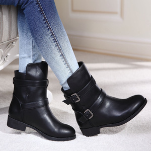 Female flat leather British short boots with a short tube Martin boots