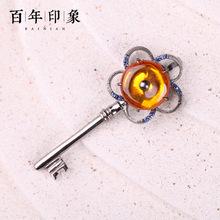 百年印象琥珀蜜蜡特价手链 泰银彩宝时尚手饰送平安扣钥匙型吊坠