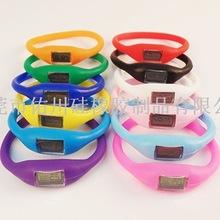 2019硅膠韓國負離子led腕帶手表 運動表兒童手表 時尚計步器功能