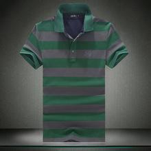 新款男式Polo衫 修身翻領條紋短袖T恤 大碼男裝 一件代發