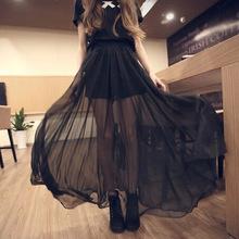 2018春季女新款韩版女装仙女裙大摆透视黑色雪纺半身裙沙滩裙女