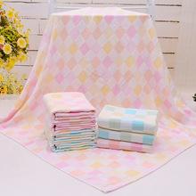 厂家直供双层纱布小彩方格婴儿童抱被夏凉被 纯棉100*105cm柔软