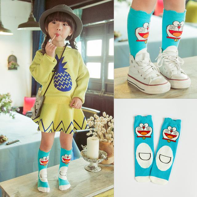 韩国卡通多啦a梦儿童袜子男女彩棉婴儿中筒袜宝宝小腿袜厂家批发