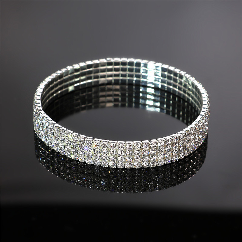 Simple crystalBracelet (10 rows of silver white diamond-k9)NHIM0653-10 rows of silver white diamond-k9